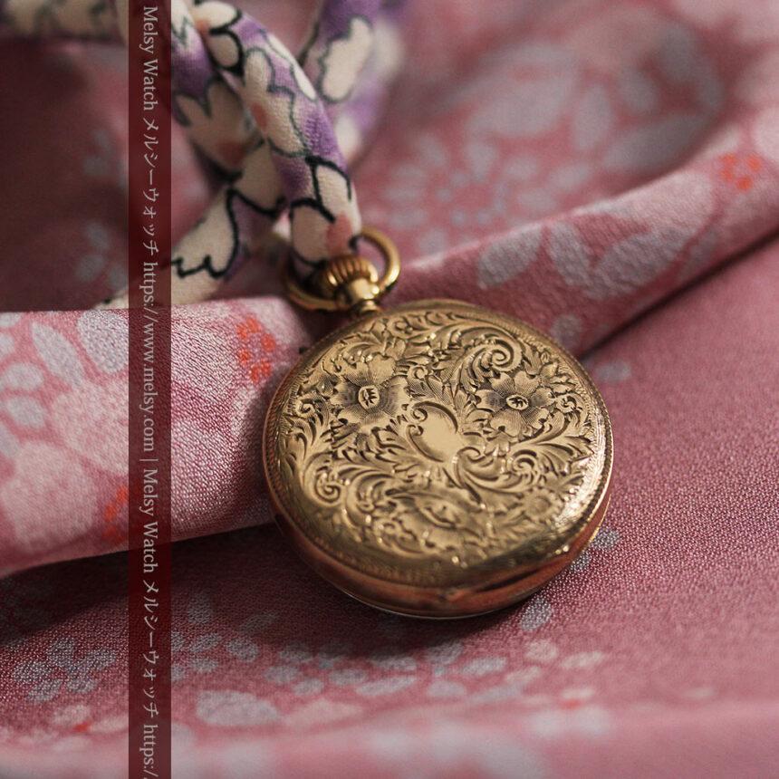 装飾の綺麗なスイス製の金無垢アンティーク懐中時計 【1913年製】-P2295-8