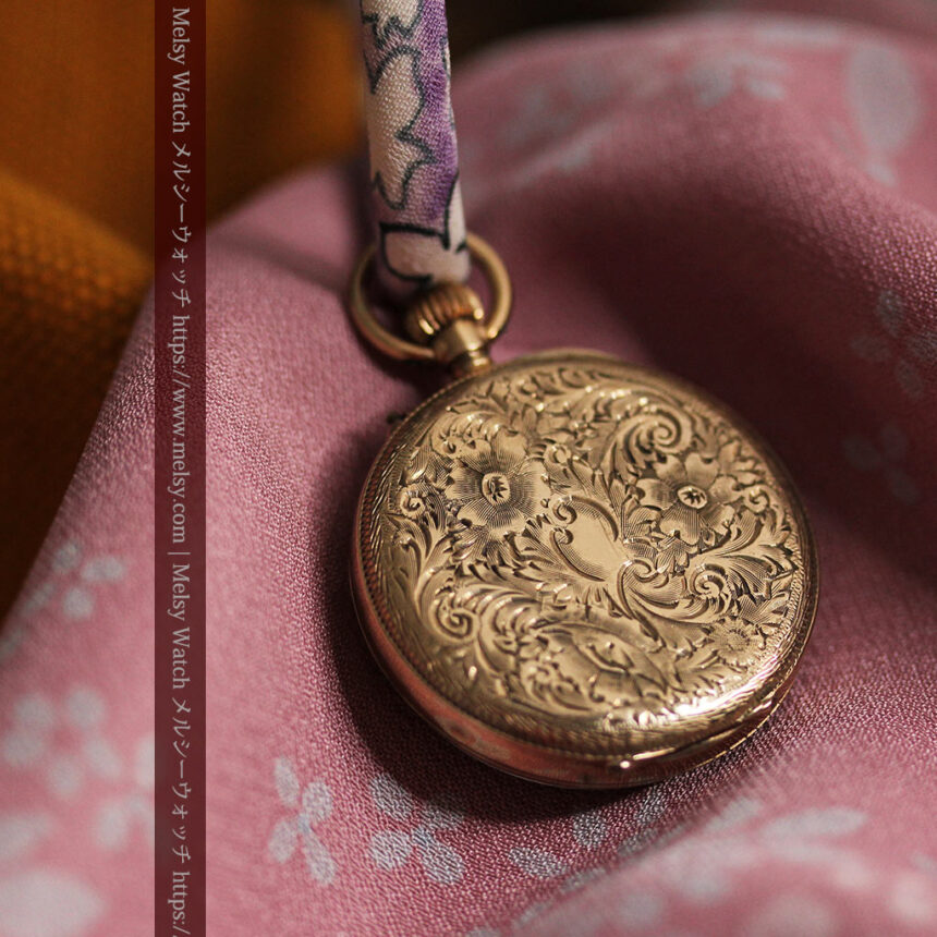 装飾の綺麗なスイス製の金無垢アンティーク懐中時計 【1913年製】-P2295-9