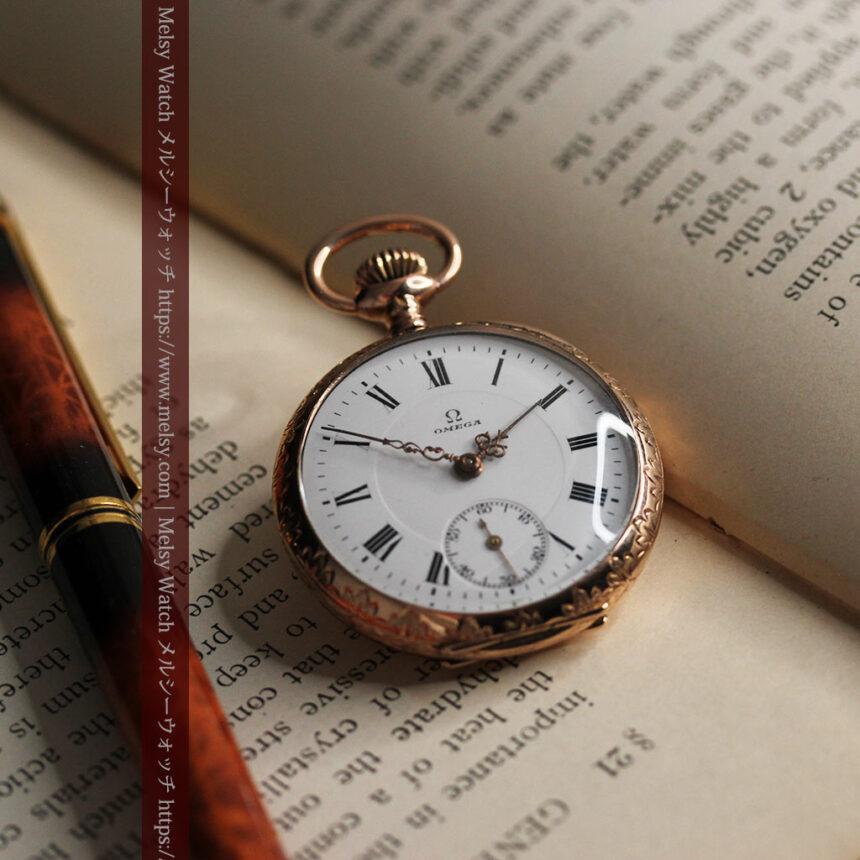 オメガ 彫りと装飾の美しい14金無垢アンティーク懐中時計 【1907年製】-P2296-1