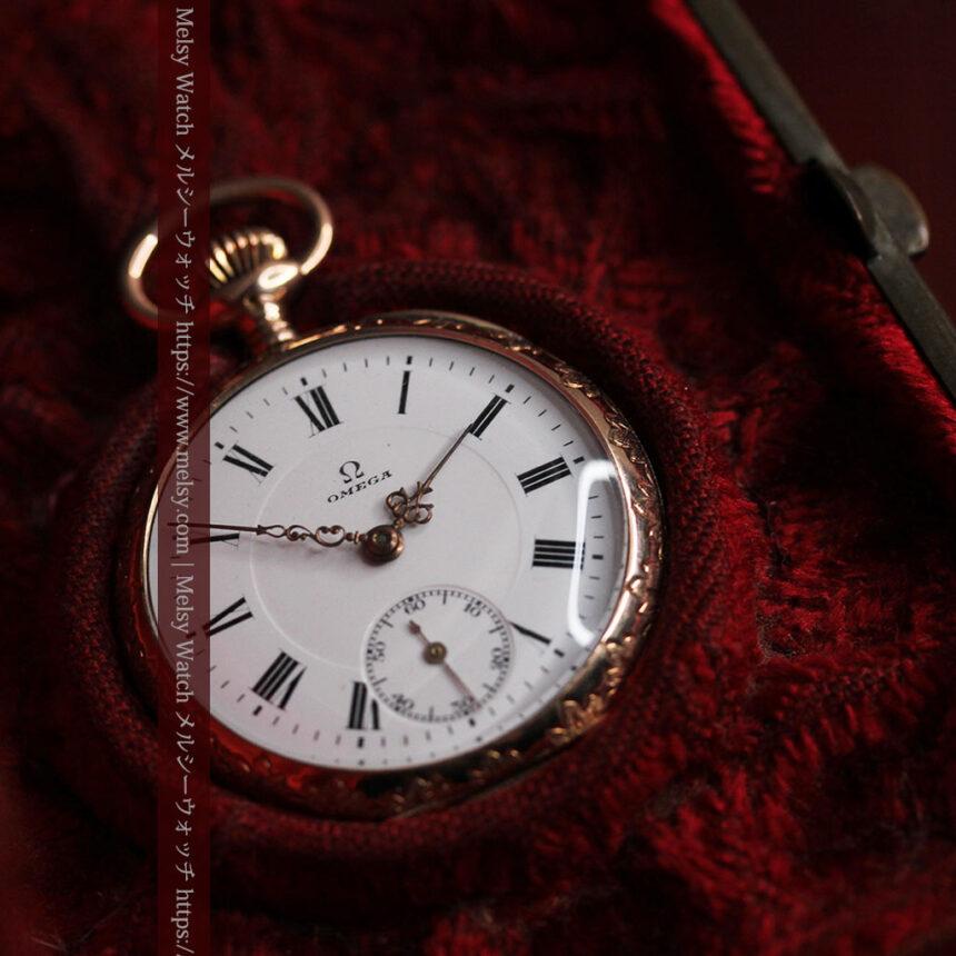 オメガ 彫りと装飾の美しい14金無垢アンティーク懐中時計 【1907年製】-P2296-12