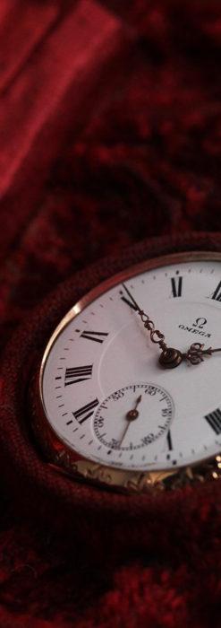 オメガ 彫りと装飾の美しい14金無垢アンティーク懐中時計 【1907年製】-P2296-13