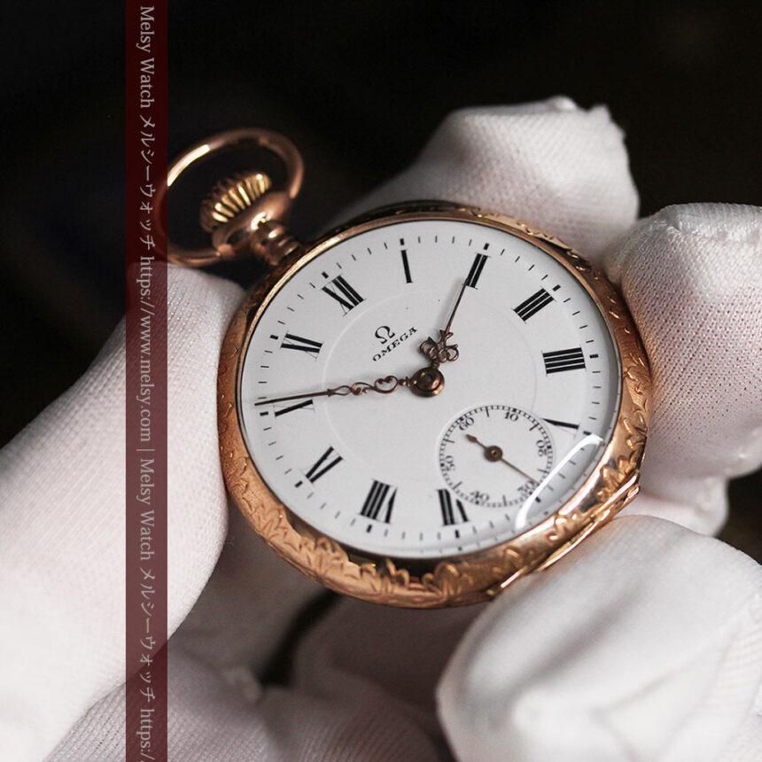 オメガ 彫りと装飾の美しい14金無垢アンティーク懐中時計 【1907年製】-P2296-17