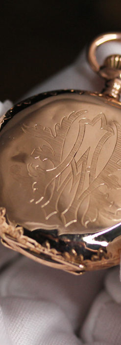 オメガ 彫りと装飾の美しい14金無垢アンティーク懐中時計 【1907年製】-P2296-18