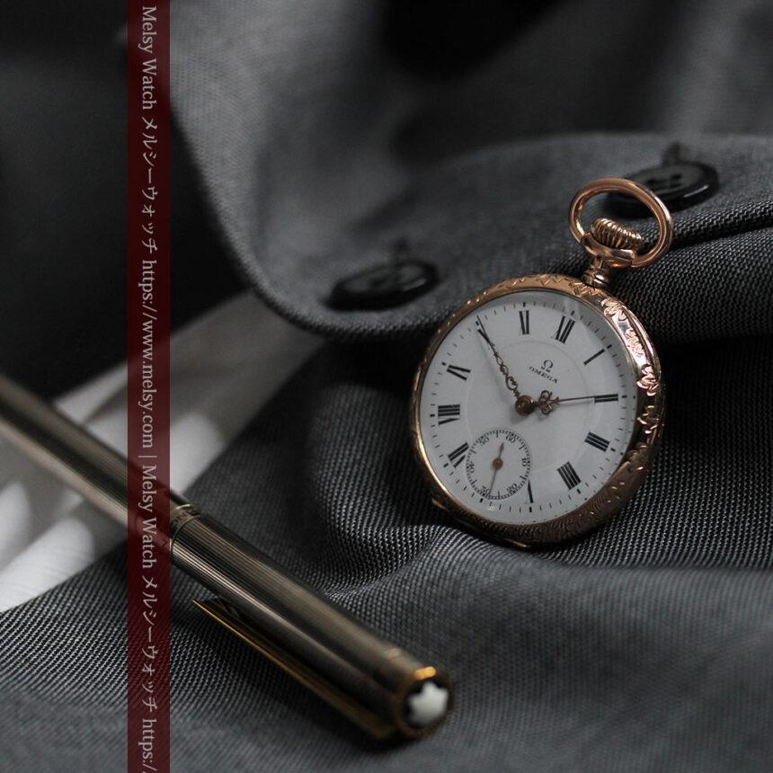 オメガ 彫りと装飾の美しい14金無垢アンティーク懐中時計 【1907年製】-P2296-3