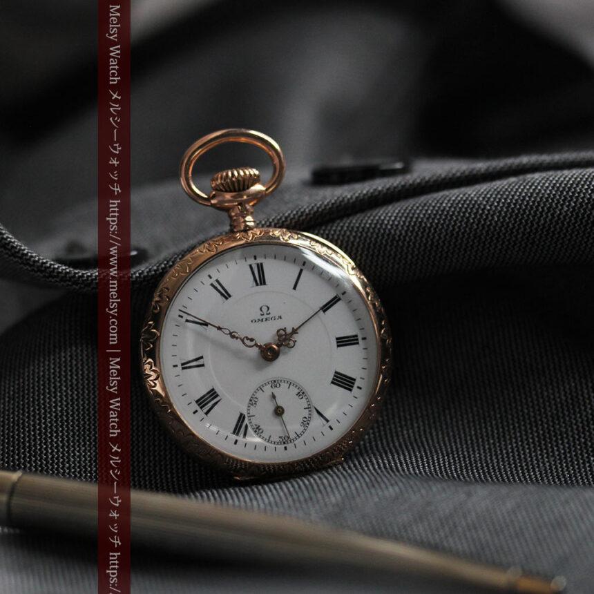 オメガ 彫りと装飾の美しい14金無垢アンティーク懐中時計 【1907年製】-P2296-5