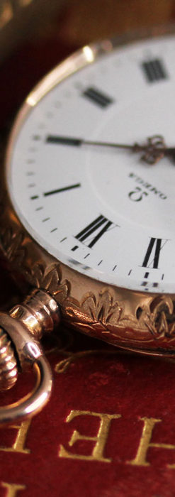 オメガ 彫りと装飾の美しい14金無垢アンティーク懐中時計 【1907年製】-P2296-8