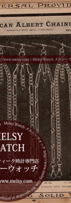 懐中時計チェーン広告 【1890年頃】 アルバートチェーン6本-M3306