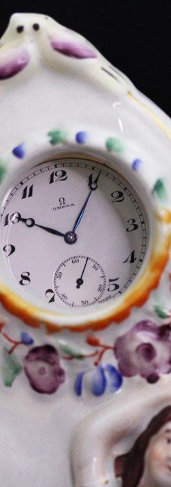 スタッフォードシャーの乙女3人の懐中時計用アンティークスタンド-S0825-10