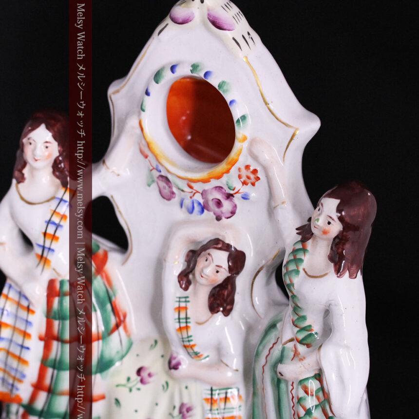 スタッフォードシャーの乙女3人の懐中時計用アンティークスタンド-S0825-2