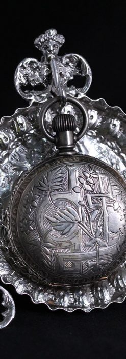 女神のアンティーク銀無垢懐中時計スタンド-S0840-14