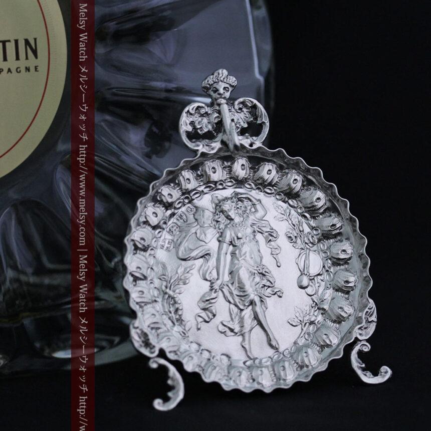 女神のアンティーク銀無垢懐中時計スタンド-S0840-2