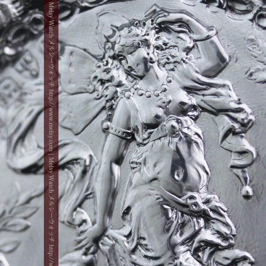 女神のアンティーク銀無垢懐中時計スタンド-S0840-3