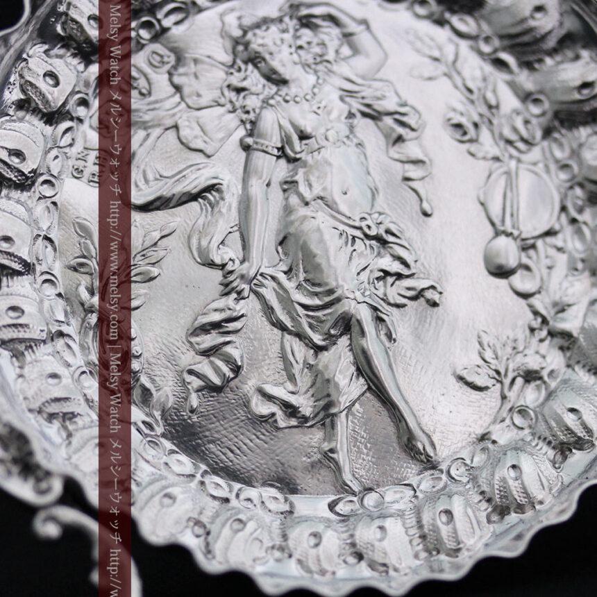 女神のアンティーク銀無垢懐中時計スタンド-S0840-4