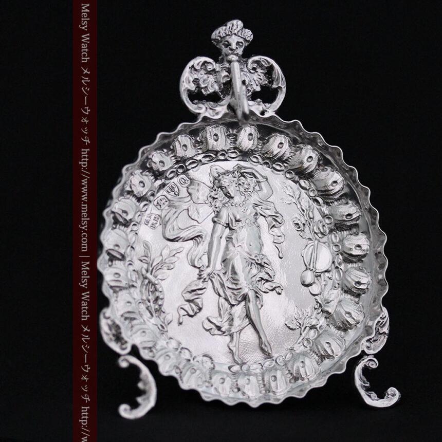 女神のアンティーク銀無垢懐中時計スタンド-S0840-7