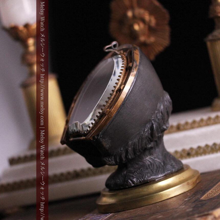 蹄鉄と馬の足を模った懐中時計用アンティークスタンド-S0841-15
