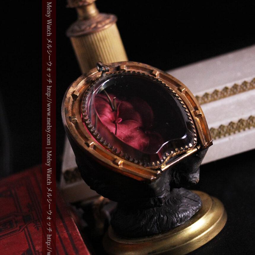 蹄鉄と馬の足を模った懐中時計用アンティークスタンド-S0841-3