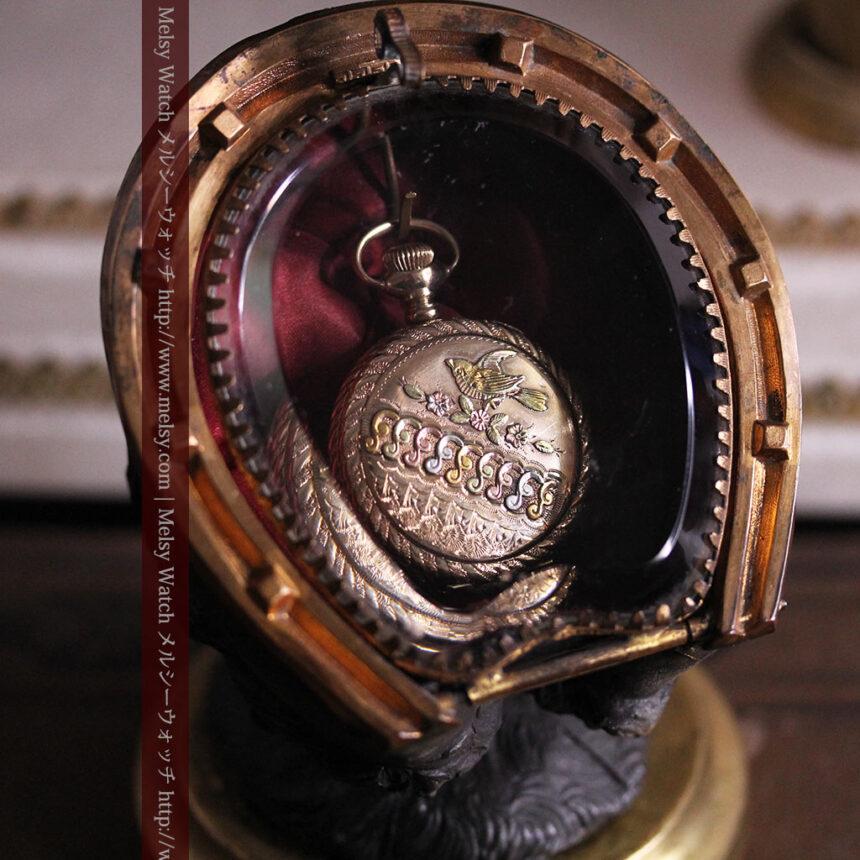 蹄鉄と馬の足を模った懐中時計用アンティークスタンド-S0841-8