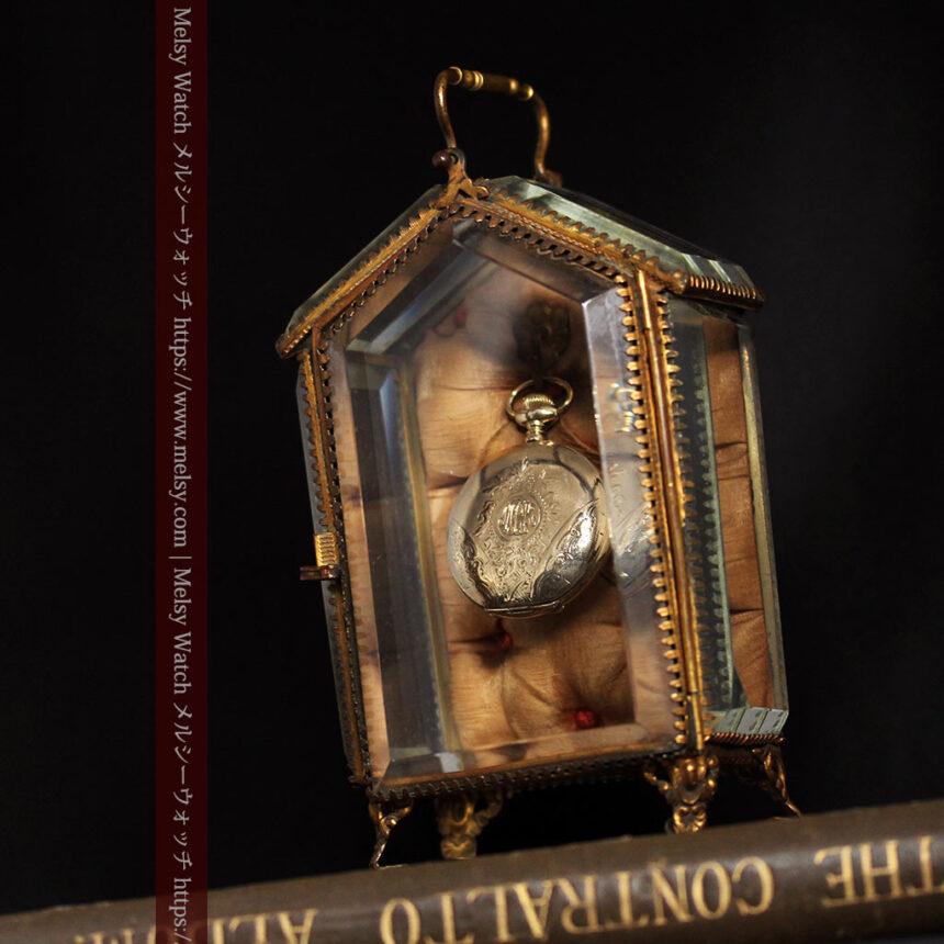 五角形の扉を持つアンティーク懐中時計収納スタンド-S0842-1