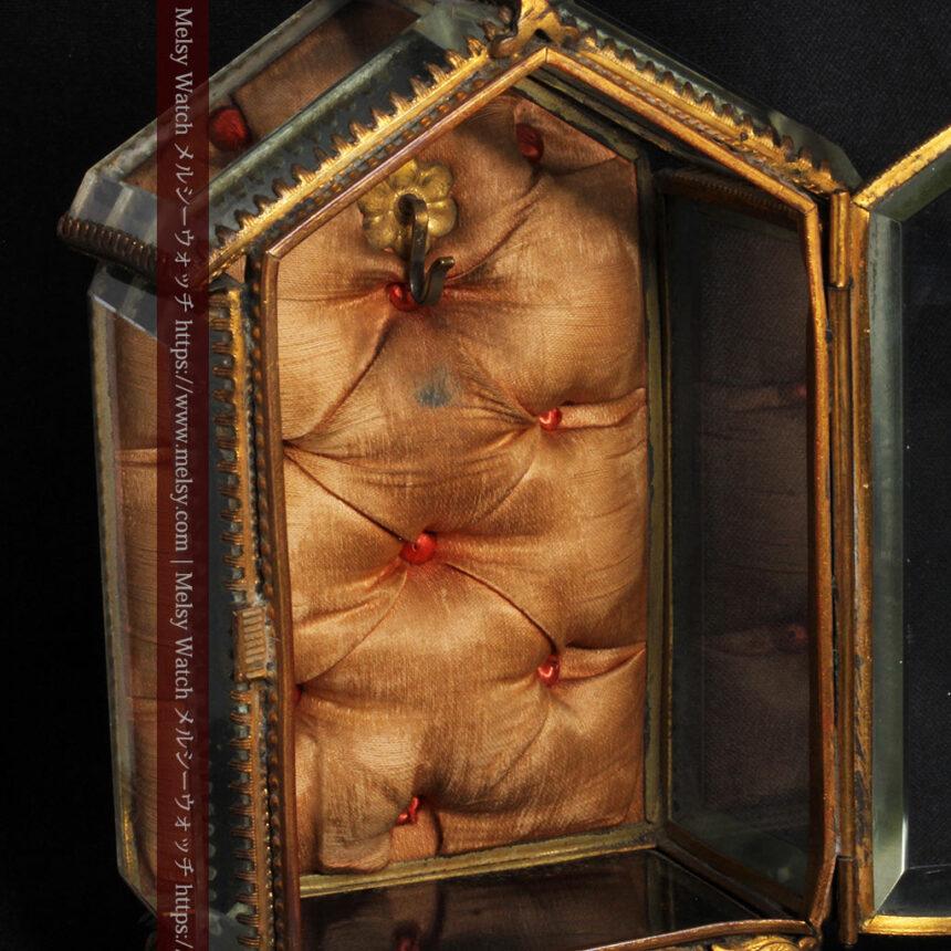 五角形の扉を持つアンティーク懐中時計収納スタンド-S0842-17