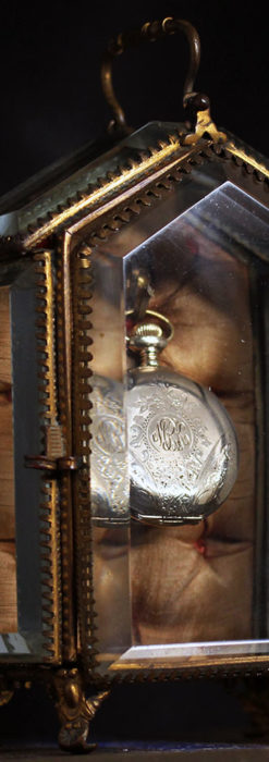 五角形の扉を持つアンティーク懐中時計収納スタンド-S0842-2