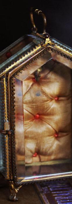 五角形の扉を持つアンティーク懐中時計収納スタンド-S0842-3