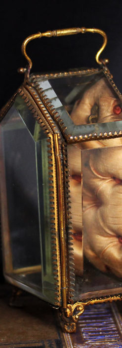 五角形の扉を持つアンティーク懐中時計収納スタンド-S0842-4