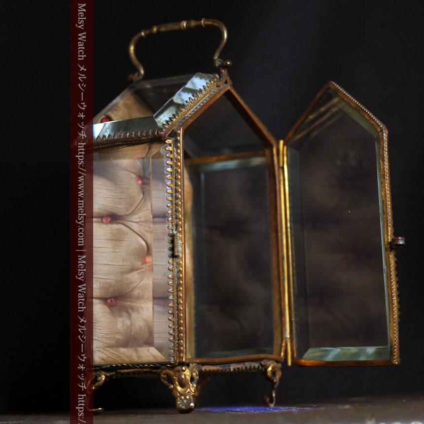 五角形の扉を持つアンティーク懐中時計収納スタンド-S0842-6