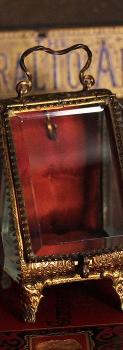懐中時計収納用ガラスケース 装飾入り三角形-S0843-1