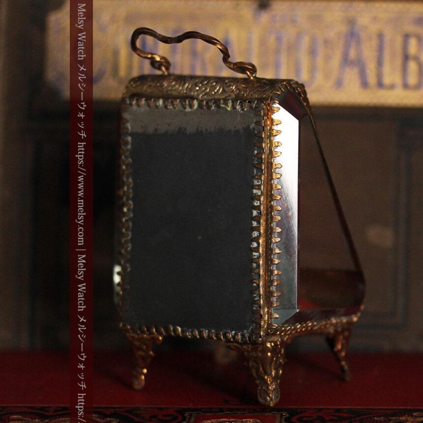 懐中時計収納用ガラスケース 装飾入り三角形-S0843-12