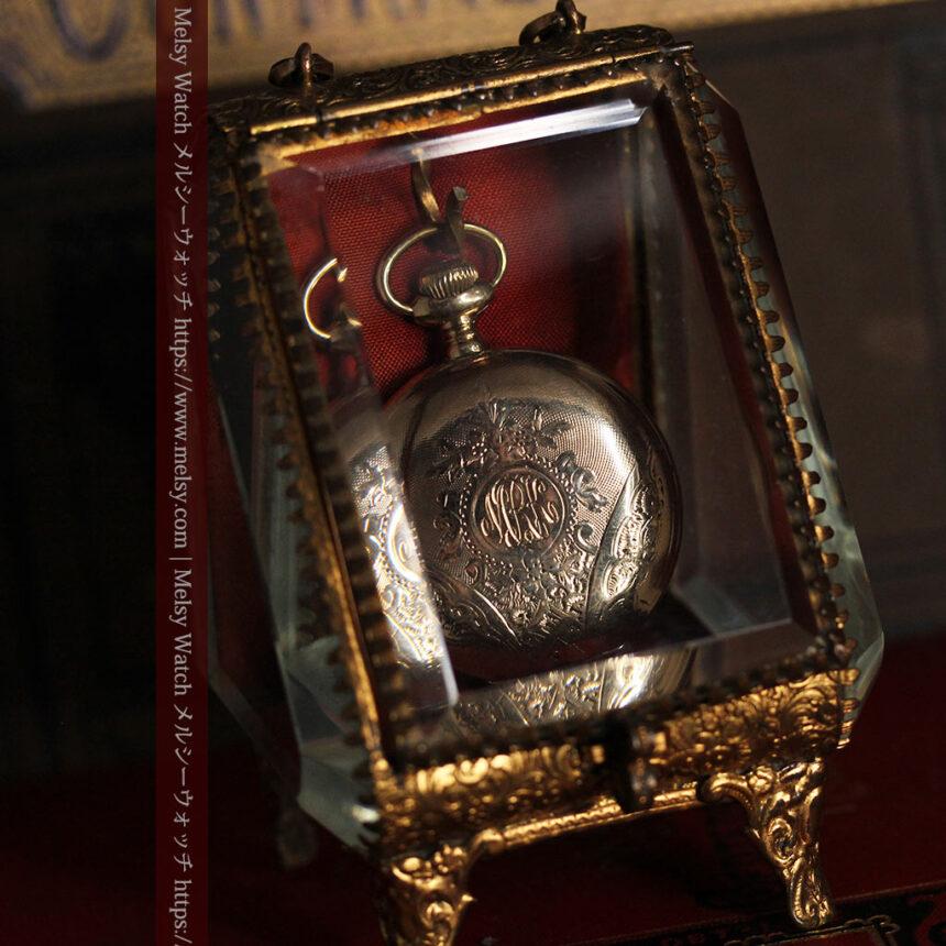 懐中時計収納用ガラスケース 装飾入り三角形-S0843-2
