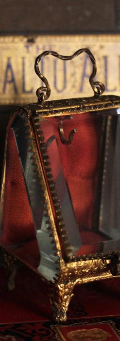 懐中時計収納用ガラスケース 装飾入り三角形-S0843-4