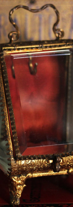 懐中時計収納用ガラスケース 装飾入り三角形-S0843-5