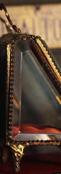 懐中時計収納用ガラスケース 装飾入り三角形-S0843-6