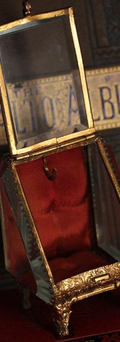 懐中時計収納用ガラスケース 装飾入り三角形-S0843-9