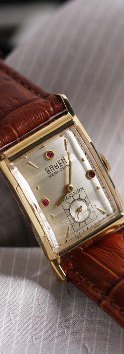 グリュエンのルビー入りアンティーク腕時計-W1099-1