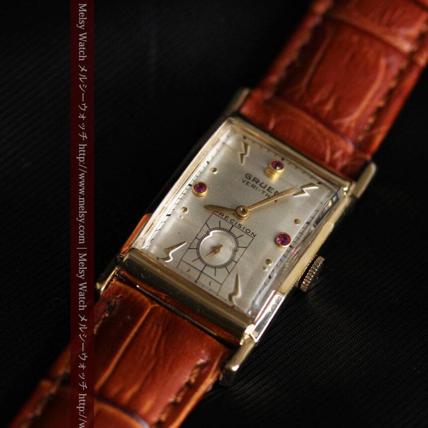グリュエンのルビー入りアンティーク腕時計-W1099-10