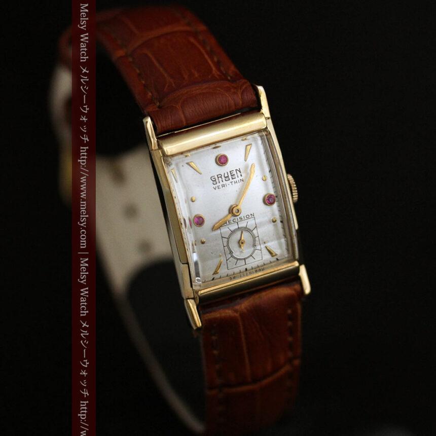 グリュエンのルビー入りアンティーク腕時計-W1099-11