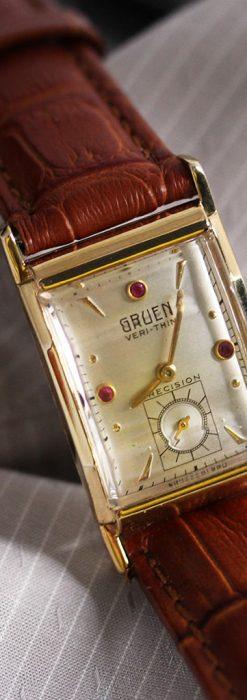 グリュエンのルビー入りアンティーク腕時計-W1099-2