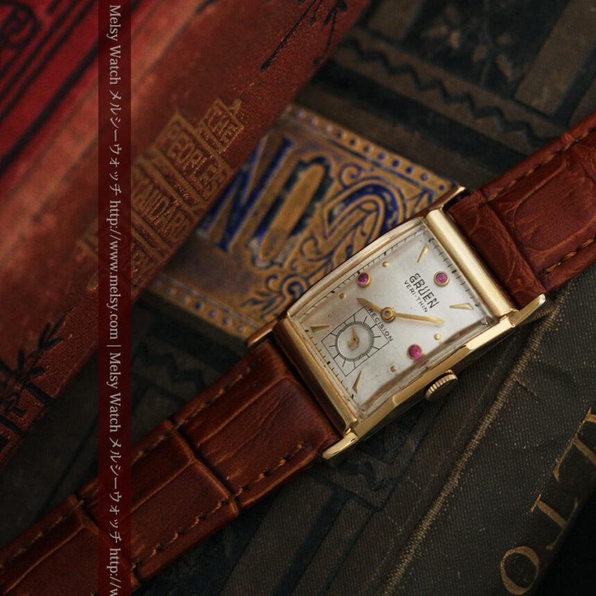 グリュエンのルビー入りアンティーク腕時計-W1099-5