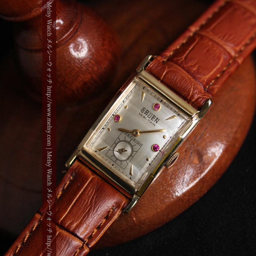 グリュエンのルビー入りアンティーク腕時計-W1099-7