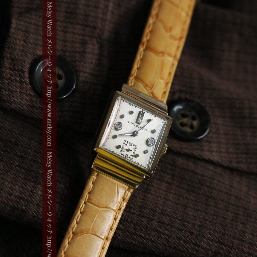 ロンジンのダイヤモンド入り金無垢アンティーク腕時計-W1130-1