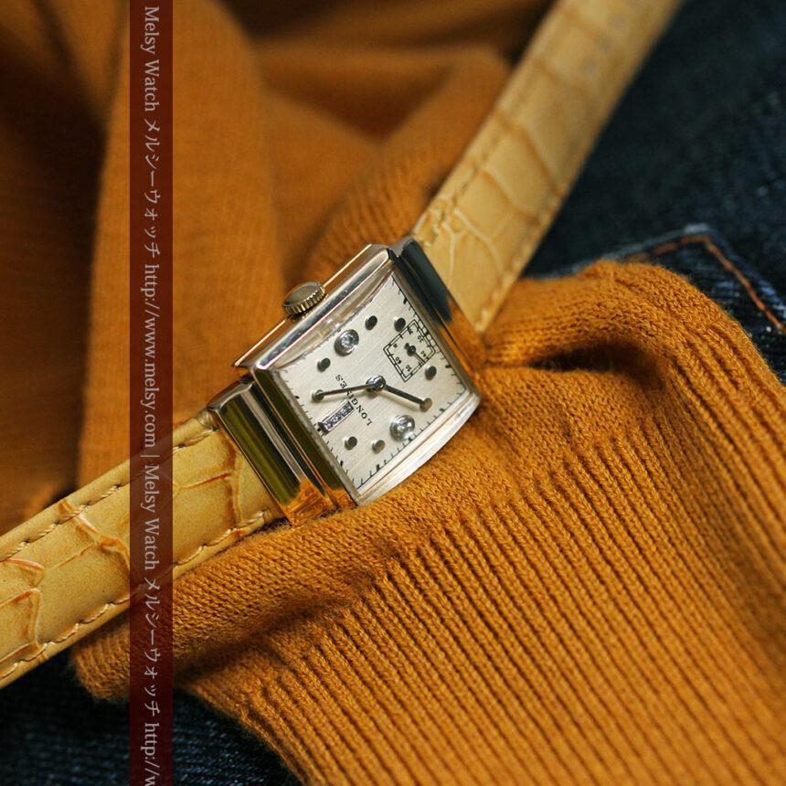 ロンジンのダイヤモンド入り金無垢アンティーク腕時計-W1130-2