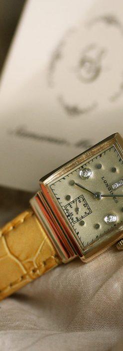 ロンジンのダイヤモンド入り金無垢アンティーク腕時計-W1130-4