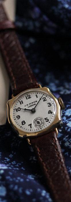 英国ベンソン 金無垢の特殊型女性用アンティーク腕時計 【1949年頃】-W1234-1
