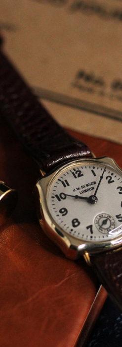 英国ベンソン 金無垢の特殊型女性用アンティーク腕時計 【1949年頃】-W1234-2