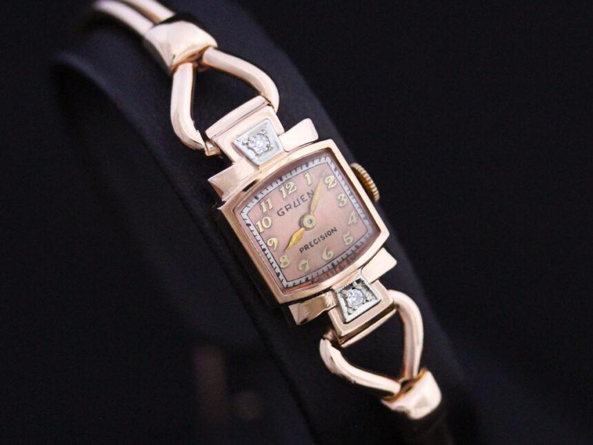 グリュエンの女性用アンティーク腕時計-W1396-11