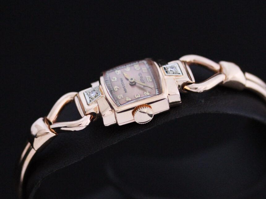 グリュエンの女性用アンティーク腕時計-W1396-14