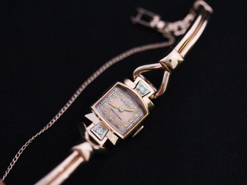 グリュエンの女性用アンティーク腕時計-W1396-2