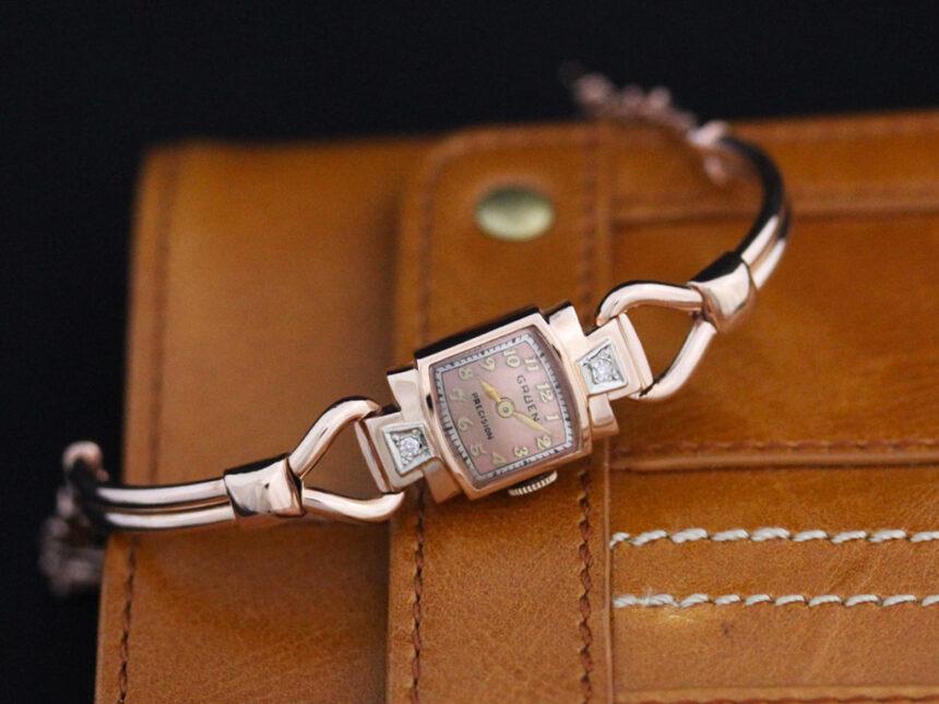 グリュエンの女性用アンティーク腕時計-W1396-3