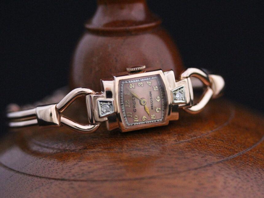 グリュエンの女性用アンティーク腕時計-W1396-4